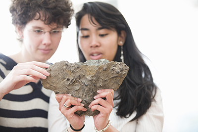 Students working in geology lab